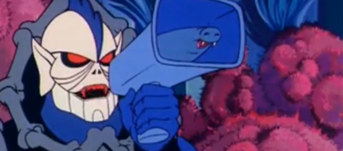 "Hordak with Imp loud horn in S1-E55 of She-Ra, ""Loo-Kee Lends a Hand."""