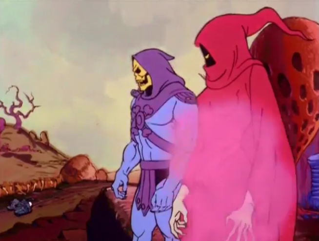 """Shadow Weaver and Skeletor from """"Of Shadows of Skulls."""""""